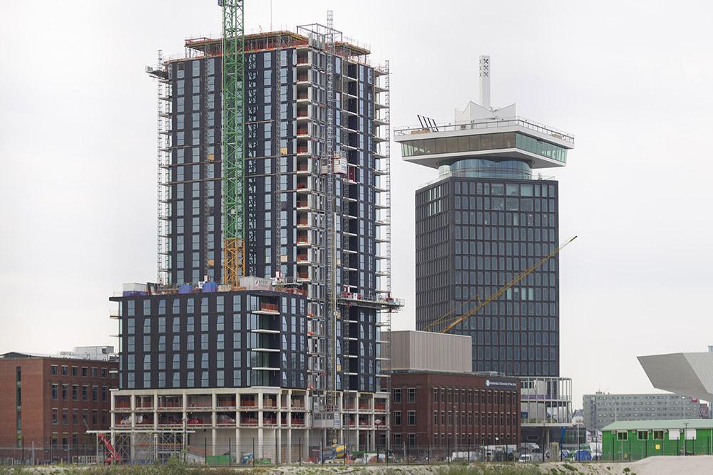 Amsterdam, 210916 Kingspan Unidek - prefab gevelsysteem Unidek SIPS. Bouwproject Toren 1 Overhoeks Amsterdam-Noord Foto: Sjef Prins - APA Foto